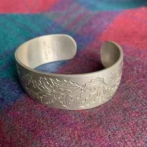 Kirk Stieff Floral Winter Holly Pewter Cuff